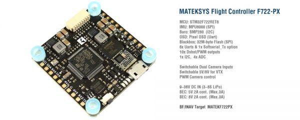 Matek F722-PX F7 Flight Controller FC BEC mit graphischem OSD