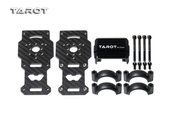 Tarot TL96026-01 Dual Carbon Motorhalterung Schwarz für 25mm Rohre