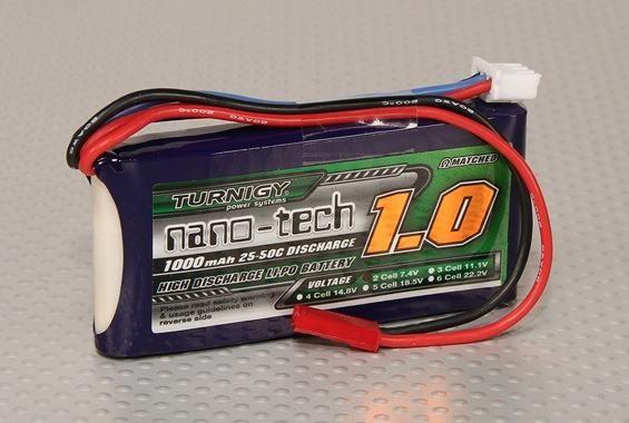 Turnigy Nano 1000mAh 2S 7,4V 25C - 50C Lipo 5C laden