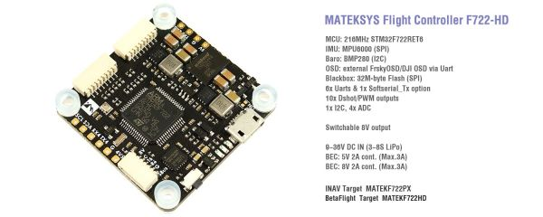 Matek F722-HD Flightcontroller F7 HD DJI INAV Betaflight