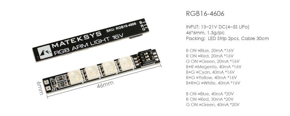 Matek 46x6mm LED RGB Leiste mit 7 einstellbaren Farben 4S - 2 Stk