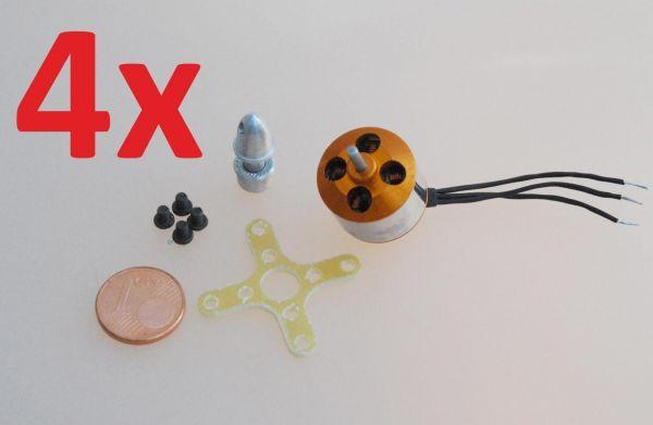 4x 17g Brushless Außenläufer Motor A1510 2200kv für Quadcopter / Hexa