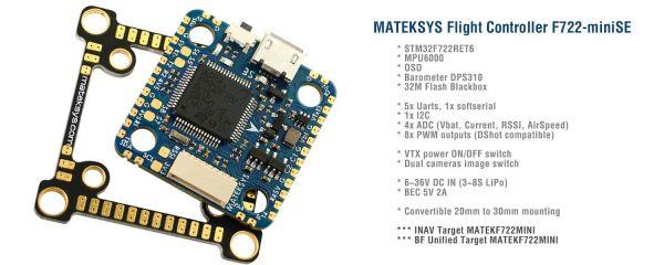 Matek F722-miniSE Flightcontroller F722 INAV Betaflight