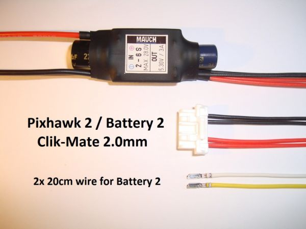 Mauch 083 - 2-6S Backup BEC for Pixhawk 2.1 / Clik-Mate 2.0-6P