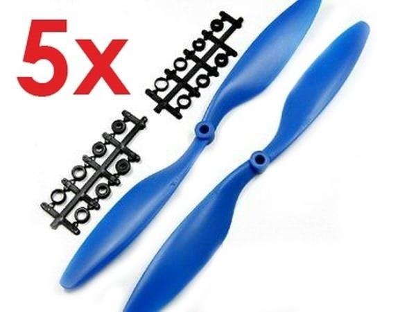 5x Paar 10x4,5 in Blau CCW + CW Propeller Luftschraube rechts + links
