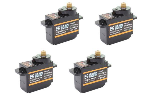 4x Emax ES08MD Digital Metall Micro RC Servo 12g 0,10s 2,0kg