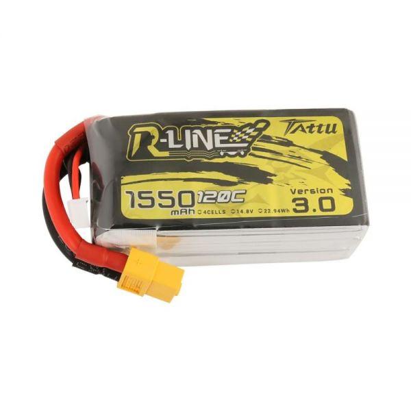 Gens Ace TATTU R-Line 3.0 LiPo Akku 4S 1550mAh 14,8V 120C FPV Racing
