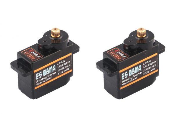 2x Emax ES08MA Metall Micro Servo 12g 0,1s 2,0kg Multiplex Alternative