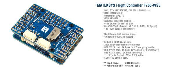 Matek F7 WING Flight Controller FC BEC iNav Ardupilot F765-WSE