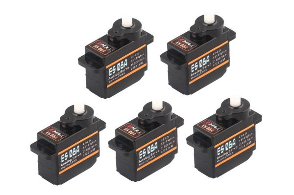 5x Emax ES08A Micro Servo 8g 0,1sec 1,8kg z.B. für Multiplex