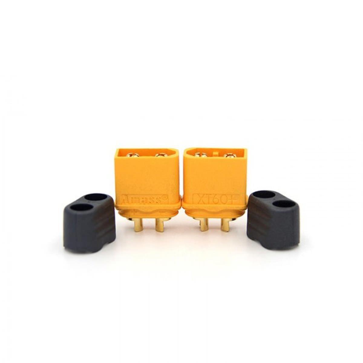XT60H 1x Stecker + 1x Buchse - 60A Lipo Goldstecker XT60 mit Endkappe