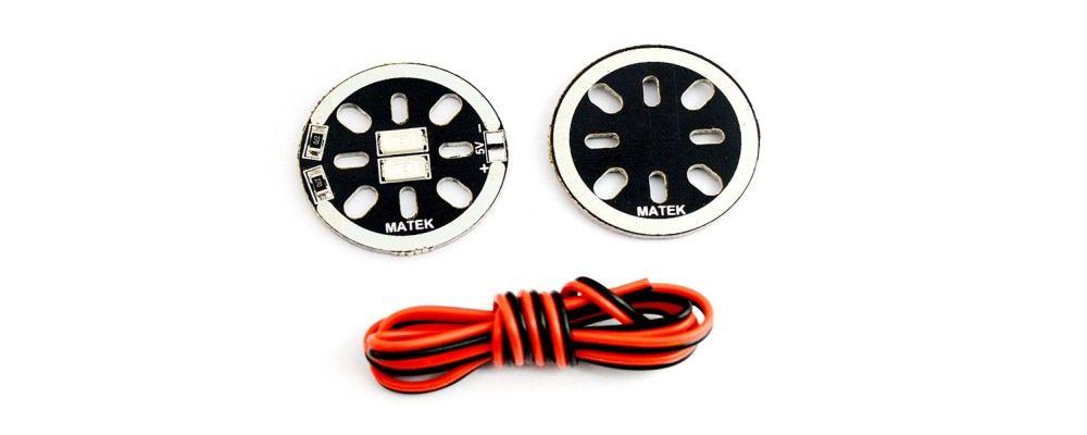 Matek 28mm LED Scheibe 5V in Rot LEDX2-5R - 2 Stk