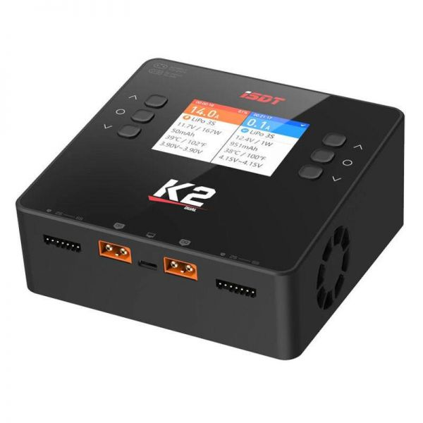 iSDT SMART CHARGER K2 DUO - 200/500W, 20A, 2x6S Lipo, integriertes Netzteil