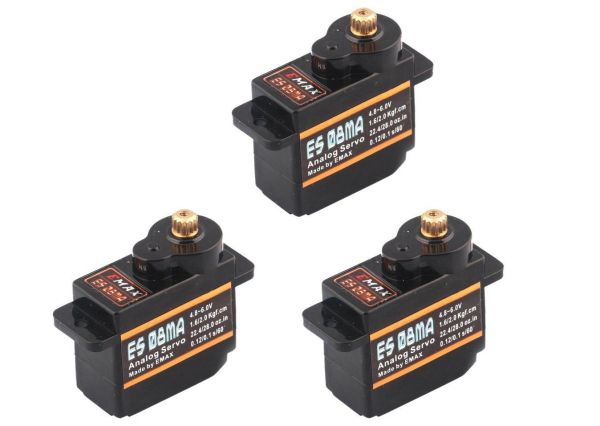 3x Emax ES08MA Metall Micro Servo 12g 0,1s 2,0kg Multiplex Alternative
