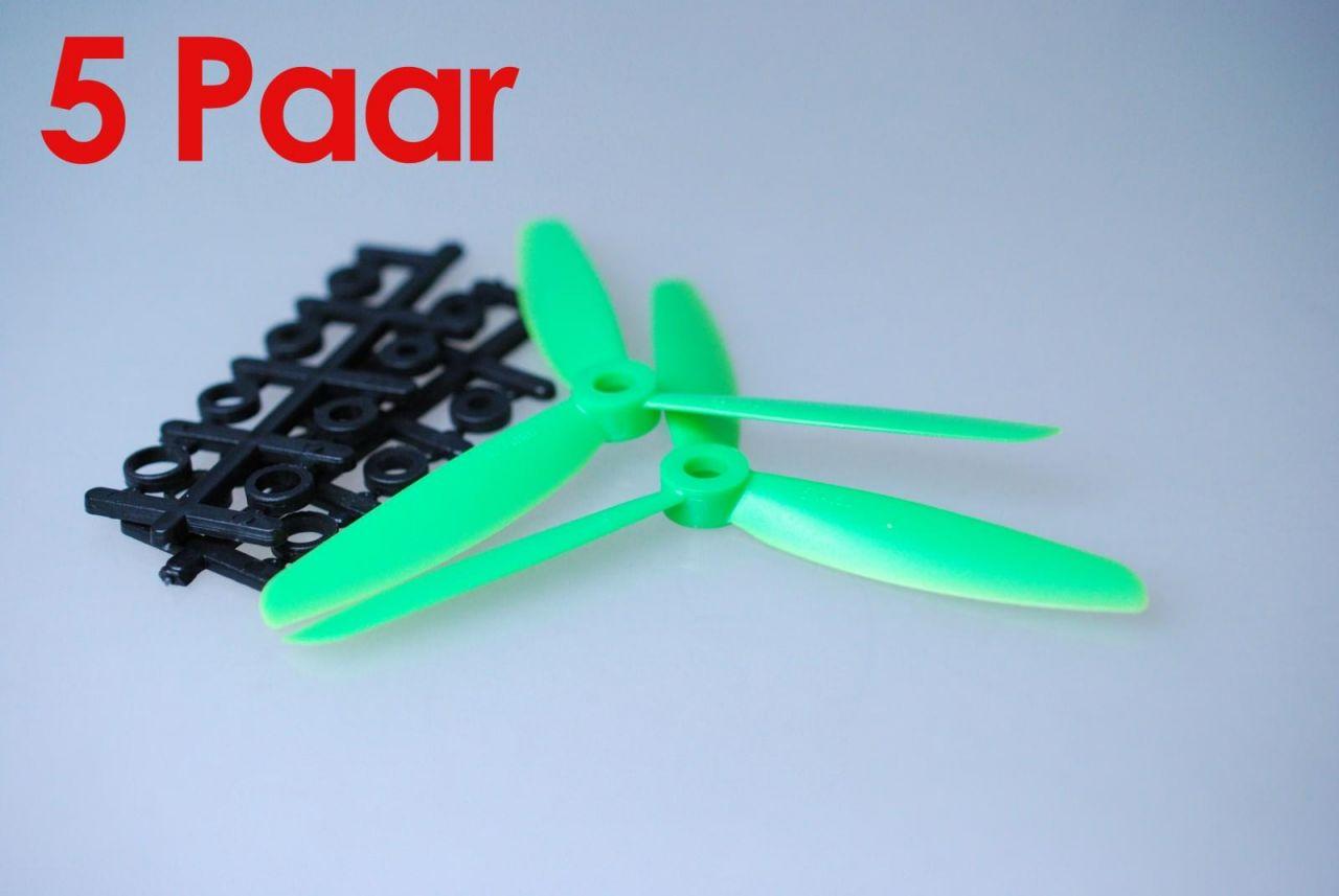 5x Paar 5x4,5 Grün CCW + CW 3 Blatt Propeller Luftschraube rechts + links