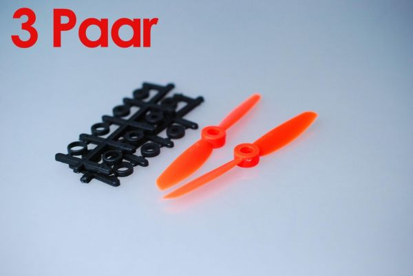 3x Paar 4x4,5 Orange CCW + CW Propeller Quadrocopter rechts + links drehend