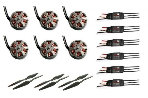 T-Motor 4S Hexacopter Set 6x MN3508 Motor 700kv, 6x 40A Regler, 13x5.5 CF