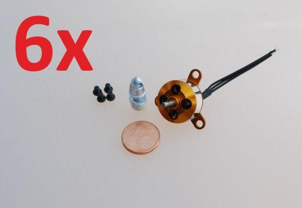 6x 13g Brushless Außenläufer Motor A1504 2900kv Micro für Hexacopter