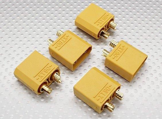 XT90 5x Stecker männlich - 90A Hochstrom Goldstecker HXT Turnigy Zippy Lipo