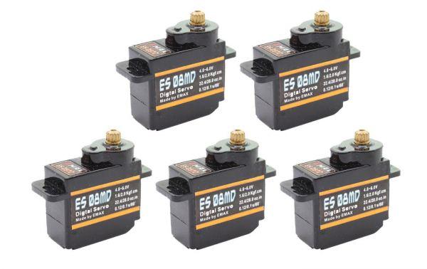 5x Emax ES08MD Digital Metall Micro RC Servo 12g 0,10s 2,0kg