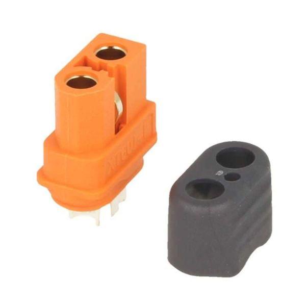 XT60i Buchse orange - mit Schutzkappe und BattGo Pin