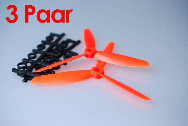 3x Paar 5x4,5 Orange CCW + CW 3 Blatt Propeller Luftschraube rechts + links
