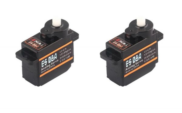 2x Emax ES08A Micro Servo 8g 0,1sec 1,8kg z.B. für Multiplex