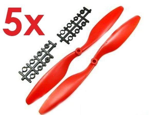 5x Paar 12x4,5 in Rot CCW + CW Propeller Luftschraube rechts + links
