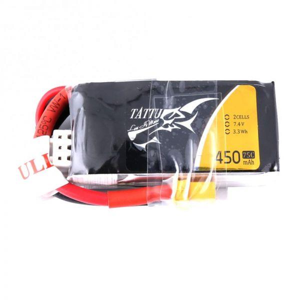 Gens Ace TATTU LiPo Akku Pack 2S 450mAh 7,4V 75C 150C FPV Racing