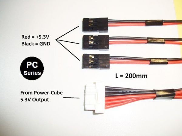 Mauch 062 - Power-Cube / 5.3V output cable / 1x C-M-6P + 3x JR / 200mm